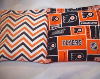 8 ACA Regulation Cornhole Bags - NHL Philadelphia Flyers and Chevron Stripes