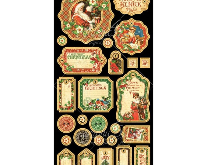 Graphic 45 ST. NICHOLAS 6x12 Sheet of Christmas Journaling Chipboard Die-Cuts