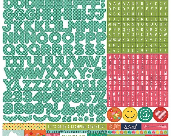 1 - 12x12 Sheet of Photo Play Paper HAPPY GLAMPER Scrapbook Alpha Alphabet Stickers (Camping Theme) HG2254