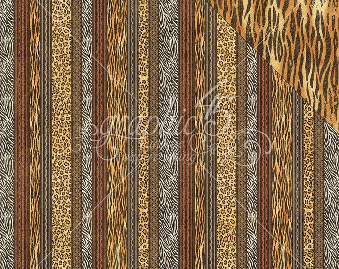 2 Sheets of SAFARI ADVENTURE Scrapbook Paper by Graphic 45 - Exotic Patterns