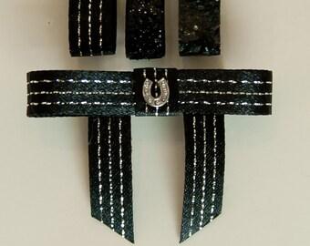 Bun Bow with Rhinestone Horseshoe, 3 black ribbon colors, Saddleseat Bow, Equestrian Horse Show Bow, saddle seat bow