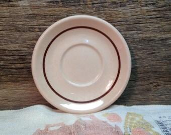 Vintage Toltec Walker China Saucer, Tan with Brown Stripe, Restaurant Ware