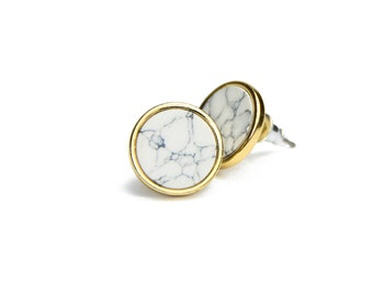 Round White Marble Earrings, Howlite Earrings, White Howlite Stone Earrings