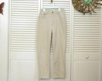 Khaki Pants Beige Mom Jeans High Waisted Size 8 Vintage