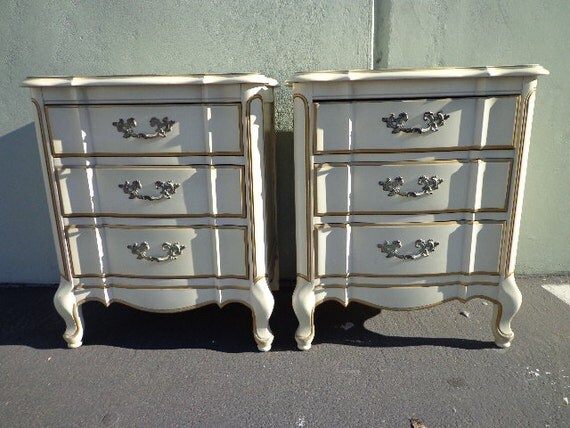 2 vintage french provincial nightstands shabby chic bedside for French nightstand bedside table