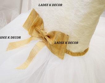 Princess Wedding Dress Lace White Tulle Rhinestone Mesh Silver Chiavari Chair Cover Chair Cap