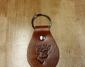 Deer head leather keychain, leather key fob, key ring, key tag, key chain