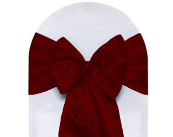 Dark Red Satin Chair Sashes (Pack of 10) | Wedding Chair Sashes