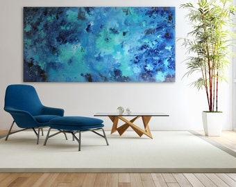 """Island Hopping Abstract Blue Painting Glassed Acrylic on Wood Panel 24x48"""" and Up Navy Blue, Cerulean Blue, Aquamarine"""