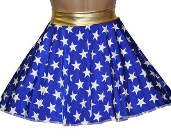 Wonder Woman Inspired Skirt by Dilly Duds™  Great for Running Skirt, Cosplay, Costumes, USA Flag Clothing, and more!! Toddler thru 5X!!