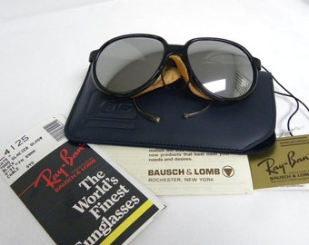 New Vintage B&L Ray Ban Cats 7000 Glacier Glass Black G-31 Full Mirror L4125 59mm Sunglasses USA NOS