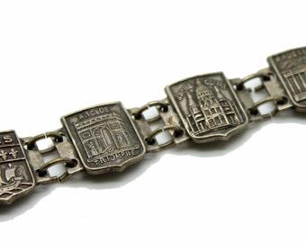 Vintage Silver Tone PARIS FRANCE Landmark Panel Bracelet-Eiffel-Notre Dame-Pantheon-Sacre Coeur-Pantheon-Estate Jewelry!
