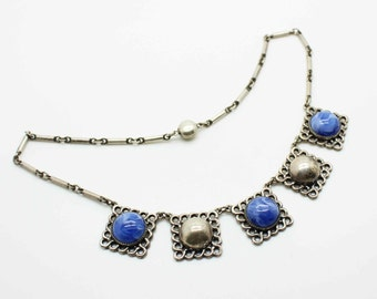 Sterling Silver ART DECO Swirled Blue Glass Cabachon Square Links Necklace-Antique Estate Jewelry-Rare SNAP closure!