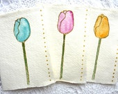 Colourful Flower set of 3 original watercolour Blank Mini Note Cards with Envelope Mini Thank You Cards