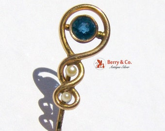SaLe! sALe! Vintage Stick Pin 10 K Gold Sapphire Pearl