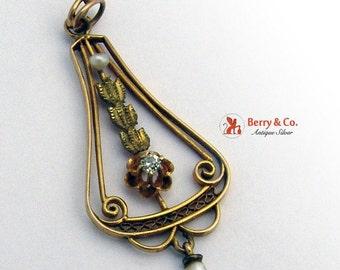 SaLe! sALe! Art Nouveau Lavalier Pendant 10 K Gold Baroque Pearl Diamond