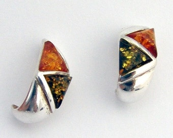 SaLe! sALe! Amber Treated Earrings Sterling Silver
