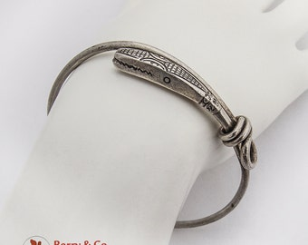 Tribal Engraved Snake Head Bangle Bracelet Sterling Silver