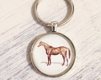 Equestrian Keychain with Vintage Horse Etching