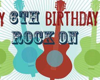 Guitar Birthday Banner Grunge Guitars 2 Ft X 5 Ft Feet Vinyl Banner for Events Birthdays Photo Prop Boys and Girls Party, Rockstar