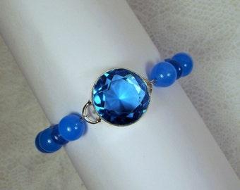 "Cynthia Lynn ""CYAN STONE"" Sterling Silver Swiss Blue Topaz December Birthstone Beaded Bracelet"