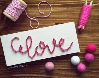 MADE TO ORDER String Art Handwritten Script Love Sign