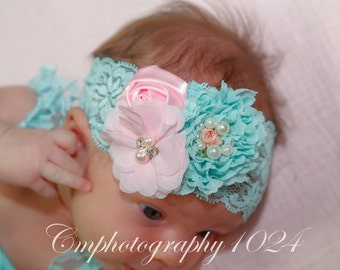Aqua Headband/Baby Headband/Baby Headband and Bow/Infant Headbands/Baby Girl Headband/Girl Headband Baby/Christening Dress/Baby Outfit