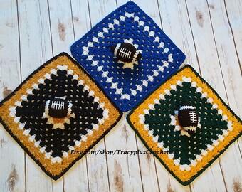 Crochet Football security blanket. Football lovey blanket. Crochet. Handmade.