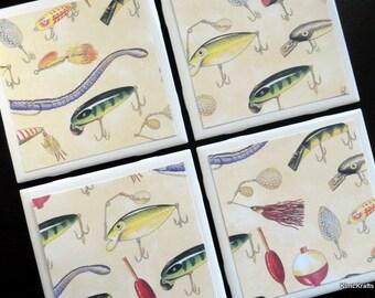 Fishing Tile Coasters, Tile Coasters, Coaster, Coasters, Tile Coaster, Fish Coasters, Fishing, Ceramic Coasters, Coaster Set of 4