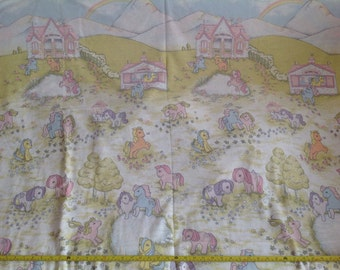 SALE! Vintage 1980s Large My Little Pony Fabric Panel