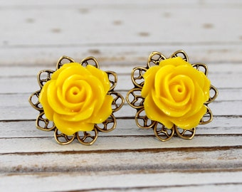 Sunny Yellow Rose - vintage style antique brass rose post earrings - Secret Garden Collection