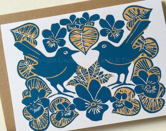 Blue Violets & Birds Greeting Card