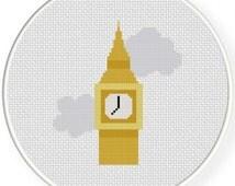 Big Ben, Handmade Unframed Cross Stitch- Wall Art, Wall Hanging, Home Decor, Minimalist Art, Big Ben Clock, London Clock, London Decor