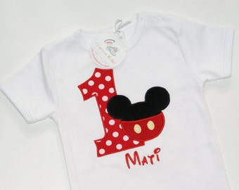 Micky Mouse Birthday Bodysiut or Shirt, Appliqued Bodysuit, Boys Birthday Shirt
