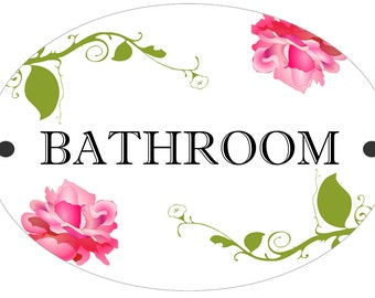 Bathroom / Toilet Door Shabby Chic Style Plastic Sign Plaque
