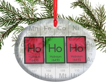Periodic Table Ho Ho Ho  Beveled Glass Ornament