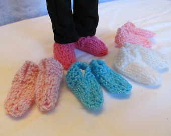 Hand Knit Slippers for 14'' or 14 1/2 '' Dolls, Multipule Colors, Cute Slippers,Winter Footwear,Fun Slippers, Causal Foot Wear,Slippers
