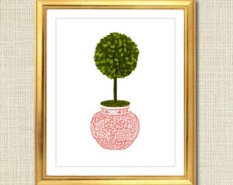 Pink and White Ginger Jar Digital Art Print, Boxwood Topiary, Chinoisierie Chic, INSTANT DOWNLOAD Coral and White Porcelain Giclee Printable