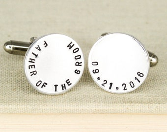 Father of the Groom Cuff Links - Personalized Wedding Cufflinks