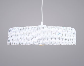 White hanging eco lamp Minimal simple pendant lamp eco friendly Modern ceiling lampshade Home decor Unique Sistainable - Hoc Big White