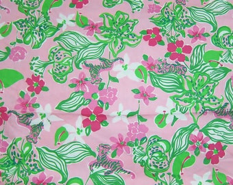 """17"""" x 18"""" Lilly Pulitzer Fabric  Pink and Green Tiger Lilly    Rare"""