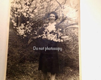 Vintage Photo Lady Under Cherry Blossoms Spring Black and White