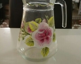 Hand-Painted Glass Pitcher