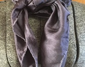 Hand dyed, exquisite Silk Charmeuse  44 x 44 Square scarf in Silver Grey