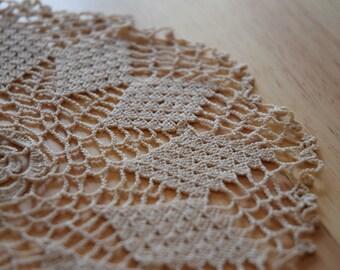Vintage Cream rose crochet doily