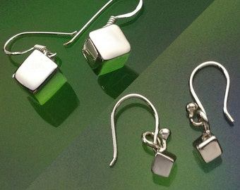 925 Solid Sterling Silver Cube Earrings/Dangle/Polished Cube Dangle Earring-Dangle