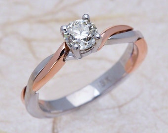 Infinity Solitaire Rose Gold White Gold Engagement Ring - 14k White Rose Gold Diamond Solitaire Engagement Ring