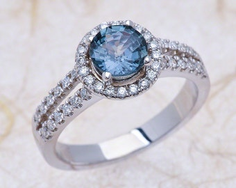Teal Blue Natural Sapphire White Gold Diamond Engagement Ring Center is 6.00mm Teal Blue-ish Natural Sapphire