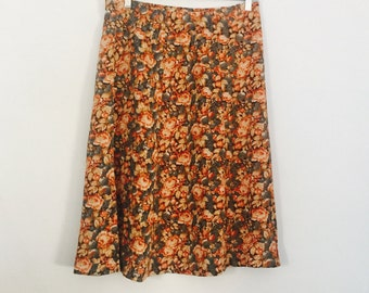 Vintage Earth Tones Floral Long Skirt