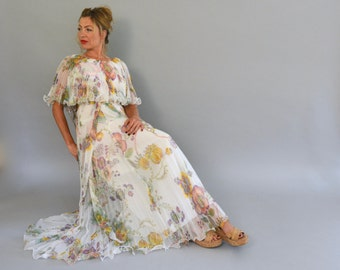 Jack Bryan Dress - Vintage 70s Pleated Printed Ruffled Chiffon Full Length Gown Romantic Dress Capelet and Matching Belt